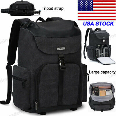 M8 Black Canvas Camera Bag Backpack with Tripod Holder For Canon Nikon Sony SLR