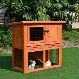 wooden chicken coop rabbit hutch pig cage two storey with ramp 62300