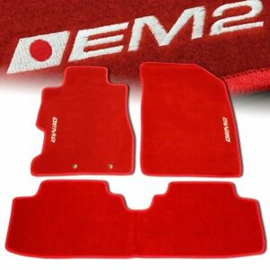 01-05 HONDA CIVIC EM2 CUSTOM FIT FLOOR MATS NON SKID CARPET SET KIT 5 PC RED