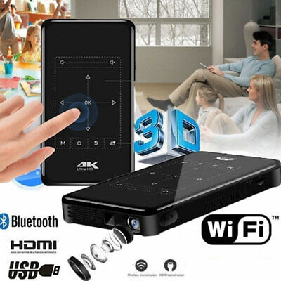 HD 4K Smart DLP Mini Projector Beamer Android WiFi Bluetooth 8G HDMI Home Cinema