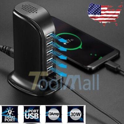 Multi Port USB Charger 6 Port Rapid Charging Station Desktop Travel Hub iPhone (Desktop Charging Station)