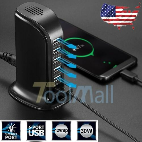Multi Port USB Charger 6 Port Rapid Charging Station Desktop