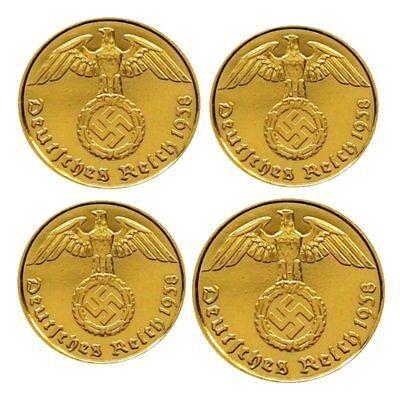 ++ 1, 2, 5 und 10 Reichspfennig - 24 Karat vergoldet ++
