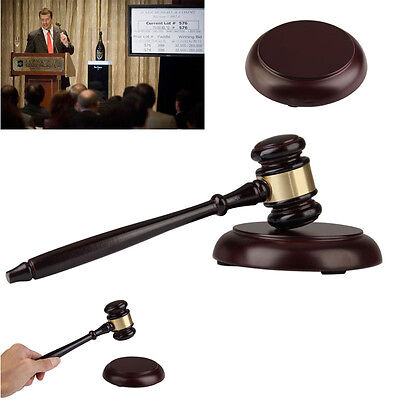 NEW Wooden Handcrafted Wood Gavel Hammer Sound Block for Lawyer Judge Auction