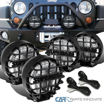"4PCs 6"" Round Black Offroad Super 4X4 Work Fog Light Lamps+Wiring+Relay+Switch"