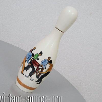 seltene Kegel Flasche Werbeflasche Seit 1880 mit 18 und mit 80 Keramik 70er J.