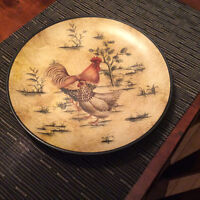 Decorative plate with rooster picture