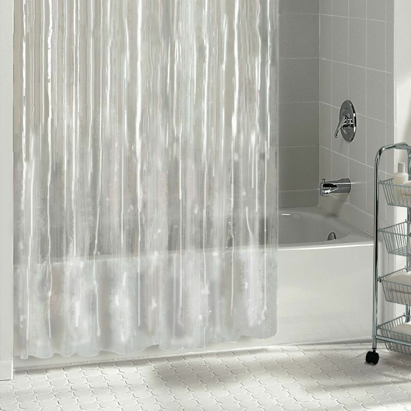 1PC SOLID VINYL BATHROOM SHOWER CURTAIN LINER WITH METAL GRO