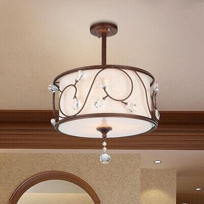 Vintage Fabric Drum Shade Classic Semi Flush Mount Lamp Bedroom Lighting (Drum Shade Semi Flush)