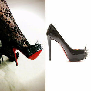 CHRISTIAN LOUBOUTIN Asteroid 160 Black-Patent&Suede Spike Heels