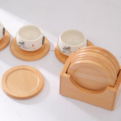 7 Pcs Wooden Coaster Set Round Collection Solid Wood Cup Pad Heat New Table - Wooden Coasters