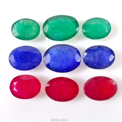 65.6 Ct Beautiful Red Green Blue Quartz Oval Cut 13mm-17mm Gemstones for Jewelry