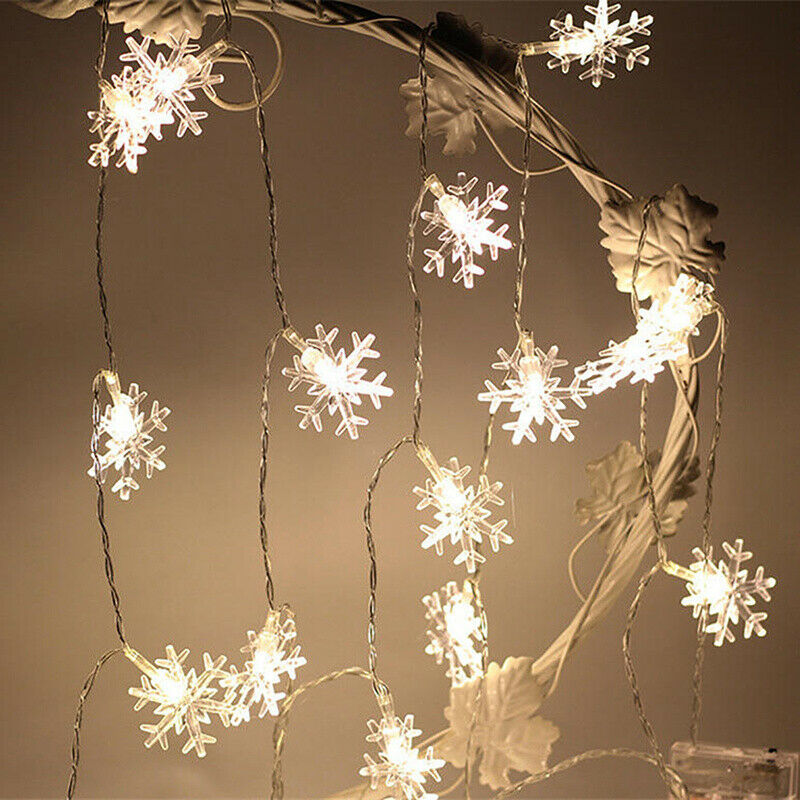 20 led snowflake fairy string curtain window light christmas wedding party decor