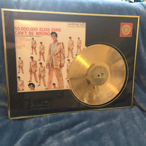 50th Anniversary Elvis Presley Gold Plated Record Display Fifty