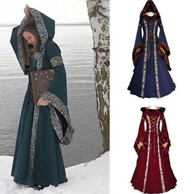 Womens Dress Renaissance Costume Medieval Victorian Halloween Fancy Cosplay Hood