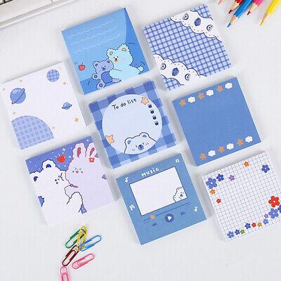 Cute Memo Block Blue Bear 50 Sheets School Office Study Sticky Note Pad Paper