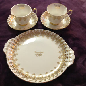 Royal Albert 50th Wedding Anniversary Plate, 2 Cups and Saucers