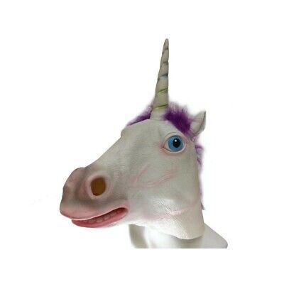 ADULT LATEX UNICORN HORSE ANIMAL COSTUME FULL OVER THE HEAD MASK W/ HORN WHITE](Unicorn Head Costume)