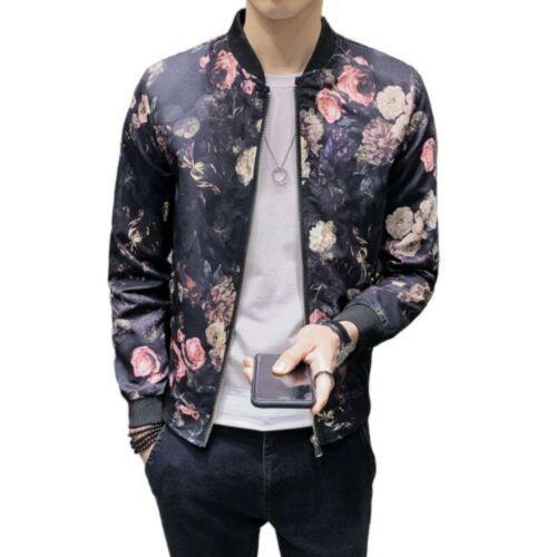 Mens Floral Printed Baseball Coat Stand Collar Zipper Slim Fit Jacket Outwear GW