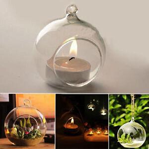 Crystal Candlestick Glass Candle Holder Romantic Wedding Dinner Hanging Decor LF