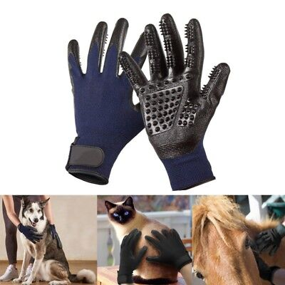 Pet Dog Cat Horse Grooming Hair Removal Bath Shedding Massage Brush Gloves