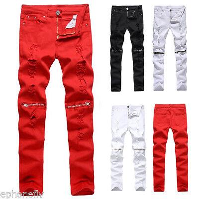 Men's Casual Skinny Slim Biker Pants Knee Zipper Distressed Ripped Denim Jeans ~