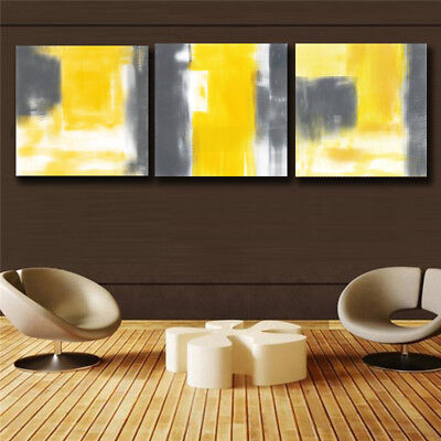 3 Piece Canvas Art - Yellow and gray Abstract 3 Piece Canvas Print Wall Art Unframed