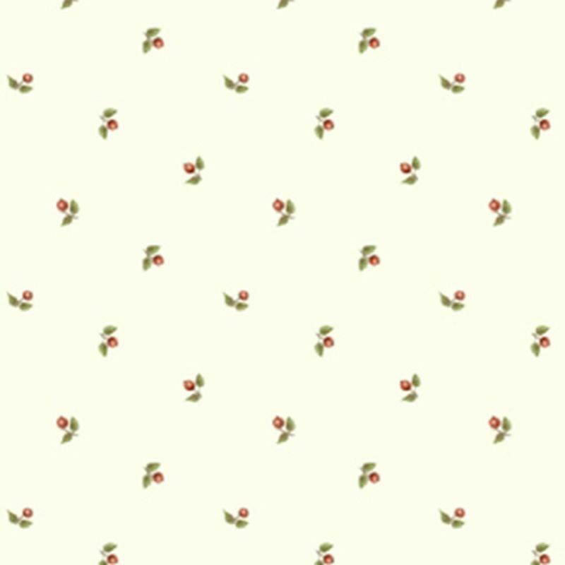 Dollhouse Wallpaper Cherry Dot Green