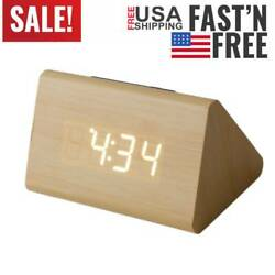 Modern Wooden Wood Digital LED Desk Alarm Clock Thermometer Timer Free Shippi SA