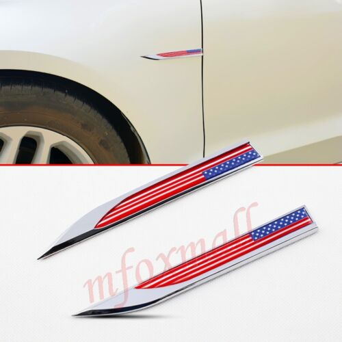 2X Auto Parts Stripes Trim Badge Symbol Emblem Decal Sticker USA US America Flag