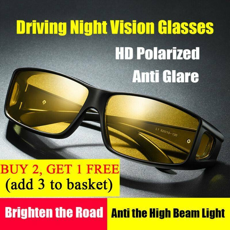 HD Night Vision Driving Wrap Around Glasses Unisex Anti Glare Safety Sunglass UK