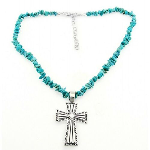 Southwestern Turquoise Necklace With Sterling Silver Cros...