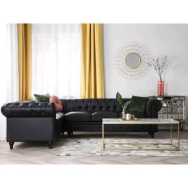 New black leather corner sofa