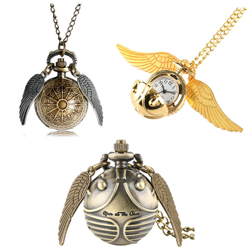 Antique Harry Potter Wings Snitch Pocket Watch Sweater Chain Fob Analogue Watch