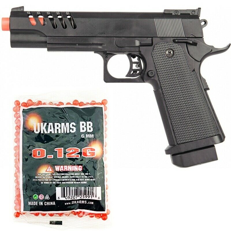 FULL SIZE M1911 TACTICAL SPRING AIRSOFT HAND GUN PISTOL w/ 1000 6mm BBs BB Black