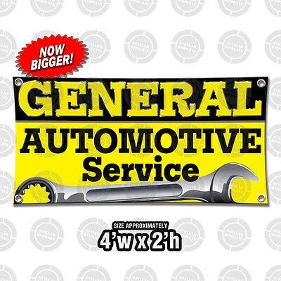 General Automotive Service Banner Poster Display Open Sign Mechanical Oil Brakes