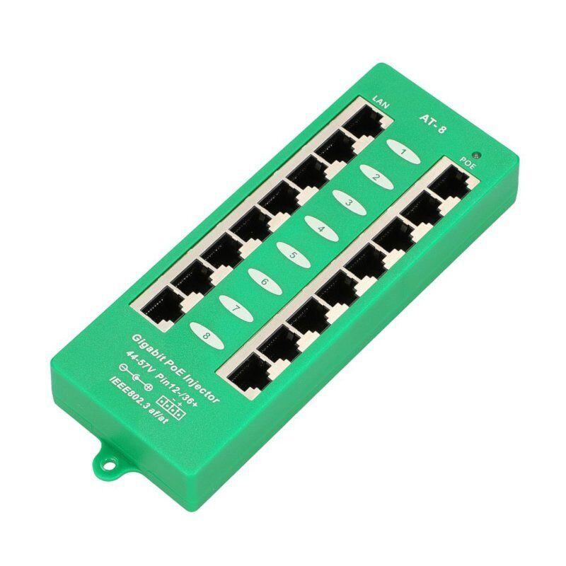 8 Port Gigabit POE Injector Panel 802.3AT/AF Mode A 44-57V POE8PG for Ubiquiti,