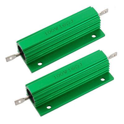 2pcs 100w 16 Ohm 5 Aluminum Shell Wire Wound Resistors Green D3s4