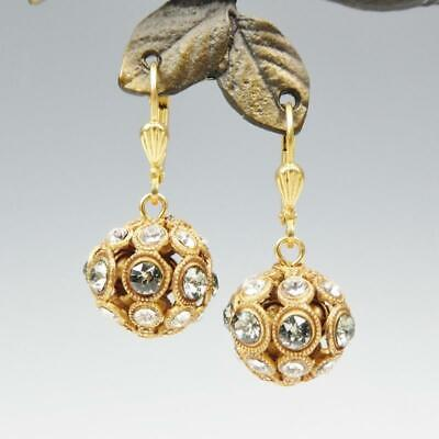 La Vie Parisienne Catherine Popesco Clear Black Diamond Crystal Ball Earrings