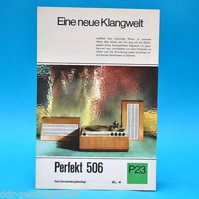 Perfekt 506 Heim-Stereoanlage DDR 1968 | Prospekt Werbung Werbeblatt DEWAG P23 C