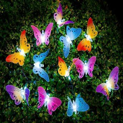 Butterfly Solar Powered String Lights With Led Bulbs For Outdoor And Christmas