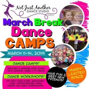 March Break Dance Camps! Ages 4-9 years