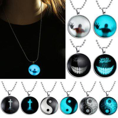 Glow In The Dark Cross (Yin Yang Smile Cross Person Luminous Glow In The Dark Pendant Necklace)