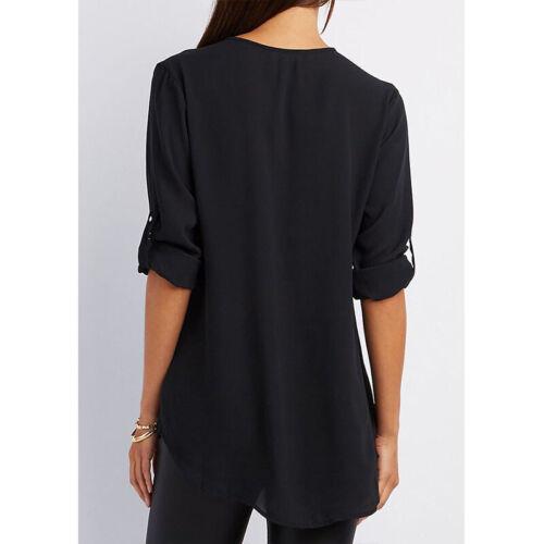 Summer Women V-Neck Zipper T Shirt Loose Casual Blouse Short Sleeve Tunic Tops 2