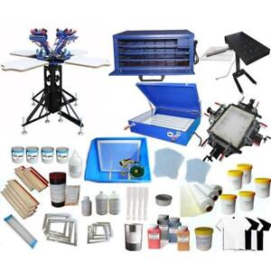 Full Set 4 Color Screen Printing Kit with Press Printer & All Silk Screen Auxiliary Machine 006994