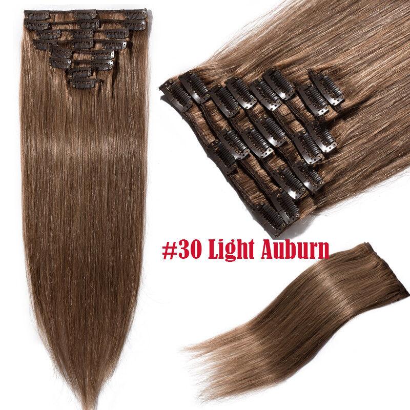 50CM 60CM Echthaar Clip In Extensions Remy Haar Haarverlängerung 8 teilig Set DE #30 Kastanienbraun