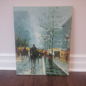 Original Oil Painting Of A Horse & Carriage (Street Scene)