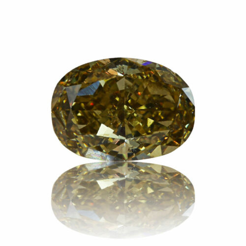 Yellow Diamond Natural Fancy 0 .71 Ct GIA Certified Champagne Color Oval Cut