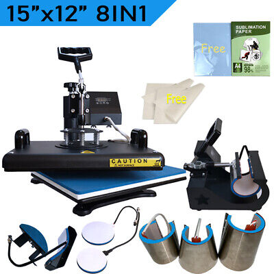 15x12 Combo 8in1 Heat Press Machine Transfer T-shirt Mug Hat Sublimation Paper