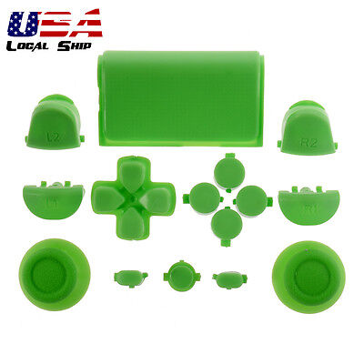 Customized Full Buttons Kits R1L1R2L2 Triggers for PS4 Controller Solid Green